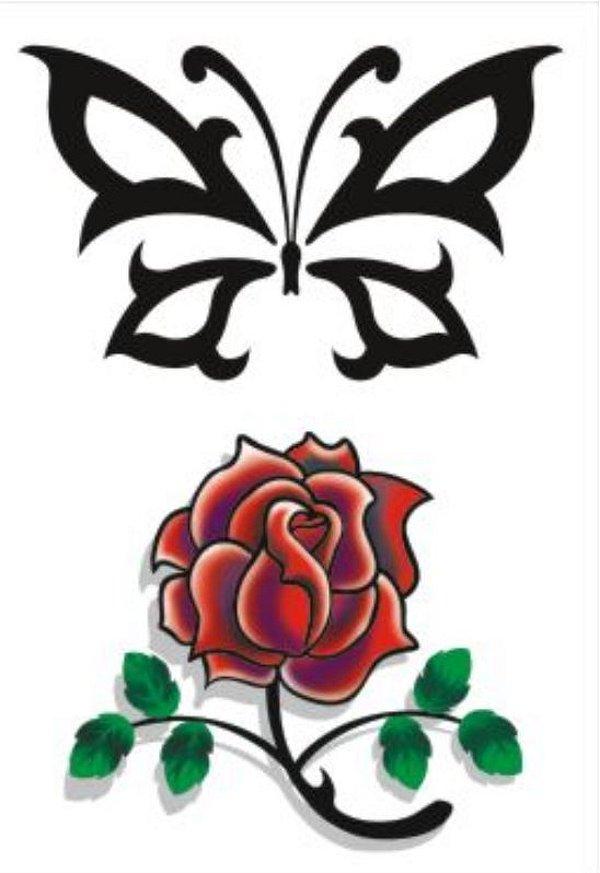 C018 Borboleta Tribal e Flor