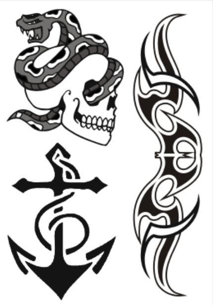 PB019 Caveira com cobra e Âncora