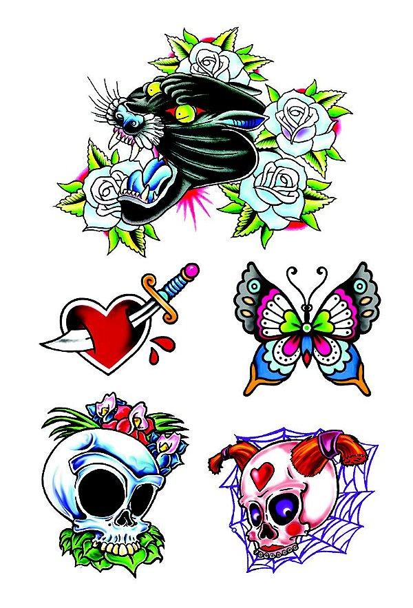 VG001  Pantera com flores, coração com adaga e caveiras