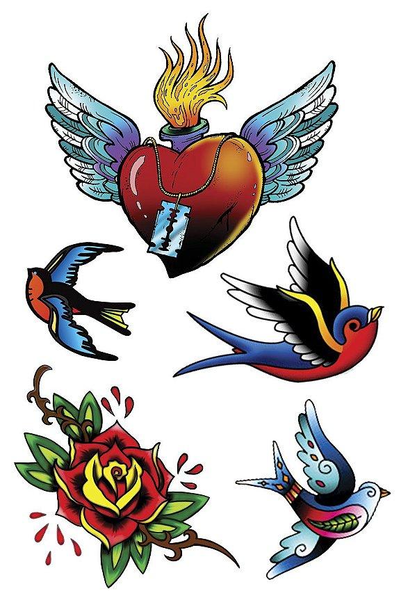 VG005 Coração com asa, andorinha e flor