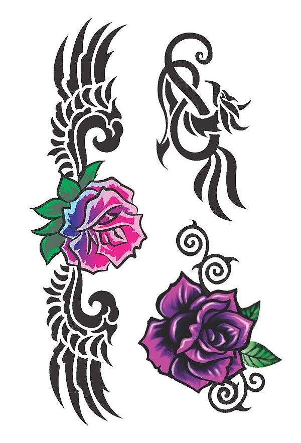 002 Feminina Grande flores e tribais