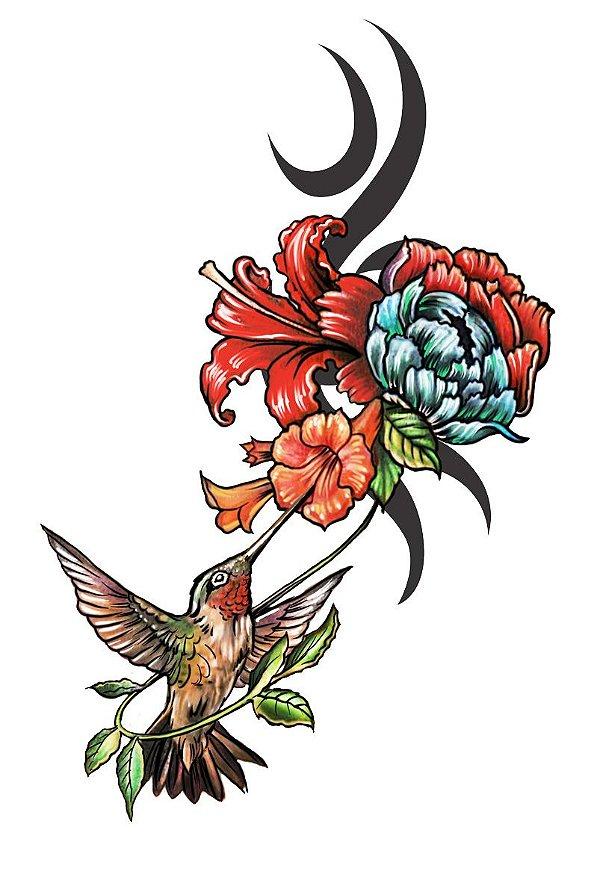 008 Feminina Grande flores e beija flor