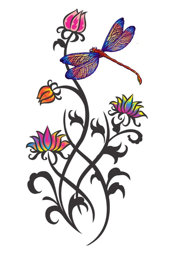 011 Feminina Grande Flores e Libélula