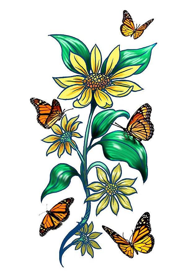 017 Feminina Grande Flores Girassol e Borboleta