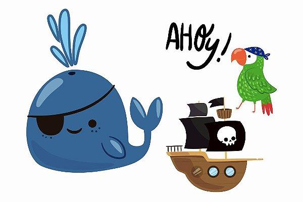 Criança Pirata, Papagaio e Baleia Feliz