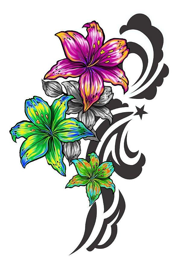 006 Feminina Grande flores e tribal