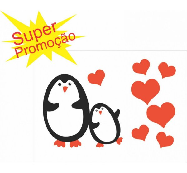 Adesivo Decorativo Pinguim Amoroso