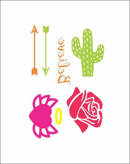 NEON 05 - Flechas, Rosa, Coração e Cacto