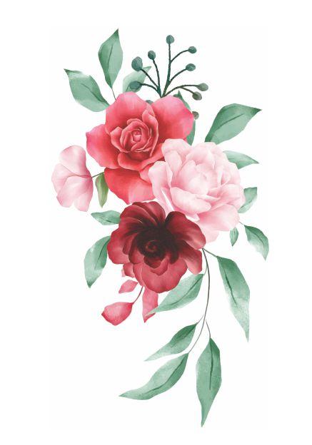 C078 rosas folhas