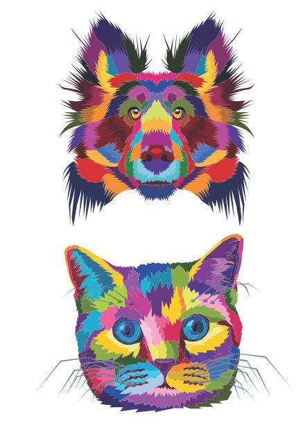 C070 aquarela cachorro gato