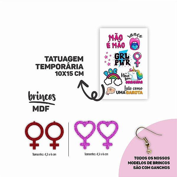 KIT FEMINISTA | 2 Brincos MDF | 1 Cartela de Tatuagem Temporária