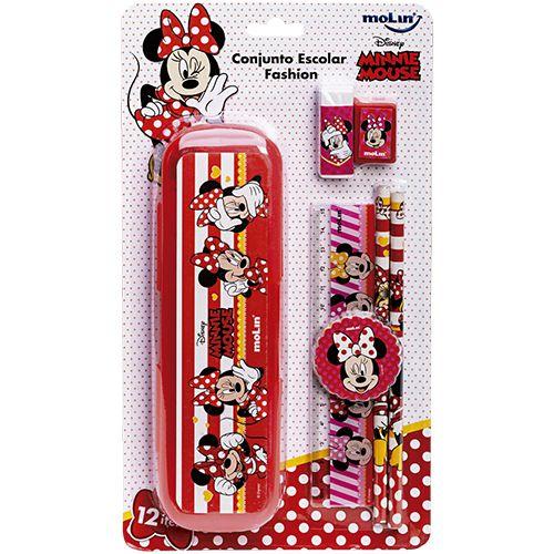 Conjunto Escolar  Fashion Minnie  (Kit Com12 itens)  -Molin