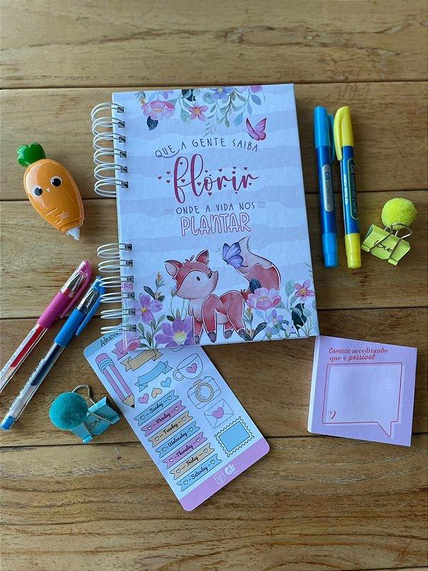 Caderno Raposinha da Gli + Cartela de adevisos