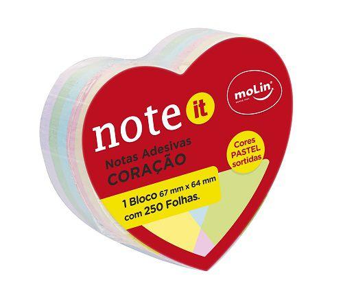 Notas Adesivas Coração  (Tons Pastel) - Molin