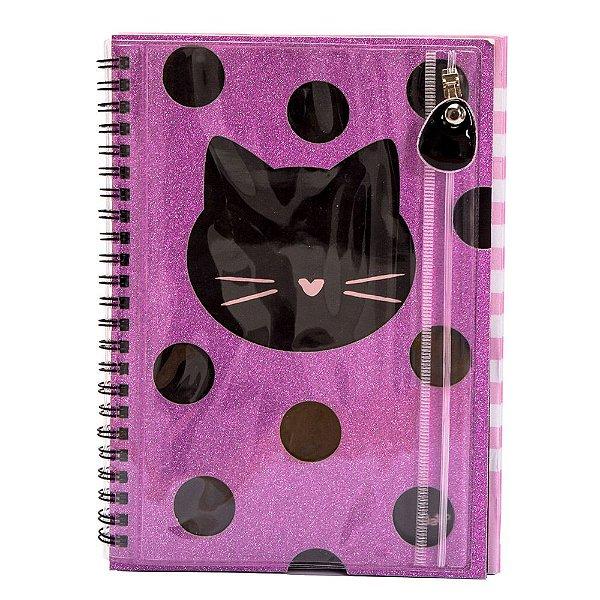 Caderno Glitter Com Estojo - Gatinha