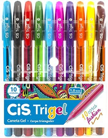 Caneta Gel CIS Trigel Conjunto 10 Cores Fashion