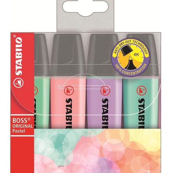 Stabilo Boss Pastel Kit 4 Cores Novas