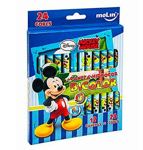 Caneta Bicolor Hidrocor Mickey 24 cores - Molin