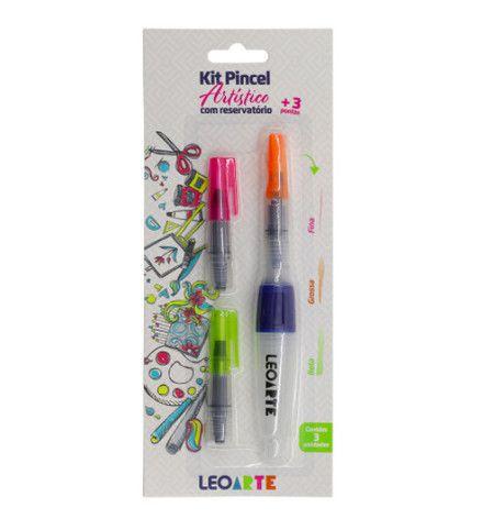 Kit Pincel Artístico 3 em 1 -  LeoArte