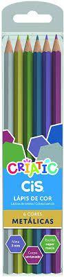 Lápis de Cor 6 cores - Cores Metálicas - Cis