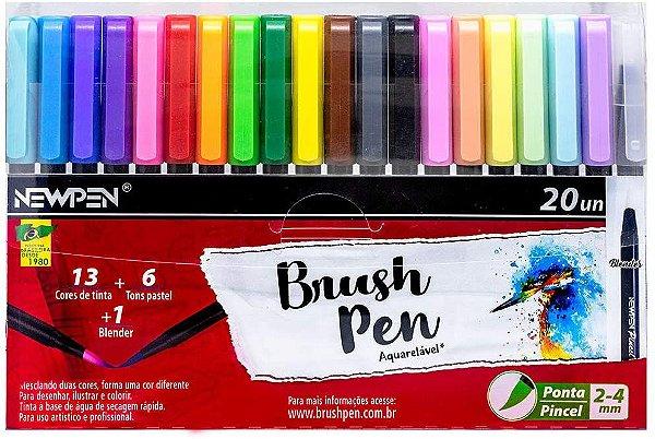 Caneta Brushpen Ponta Pincel ( 20 canetas) - NewPen