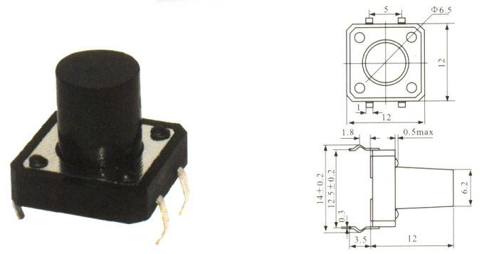 Botão Táctil KFC-A06 - 12X12X12mm - 4T - 180°