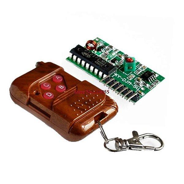 Kit Controle Remoto + Receptor RF 433Mhz