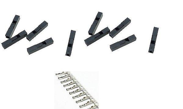 Conector Crimp/Conector Fêmea para Wire Jumper Dupont - Acompanha 10 pcs