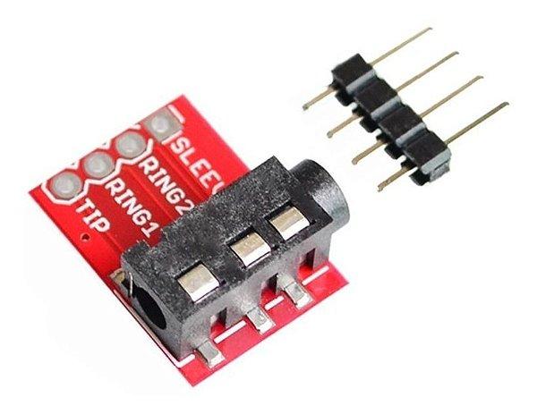 Módulo Plug Fone de Ouvido Estéreo Jack TRRS 3.5mm