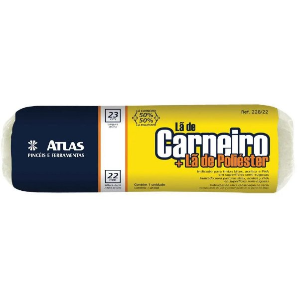 Rolo de Lã de Carneiro + Poliéster 23CM - ATLAS