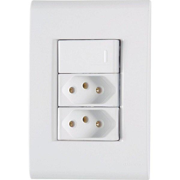 1 Interruptor Simples + 2 Tomada 2P+T 10A/250V - Liz