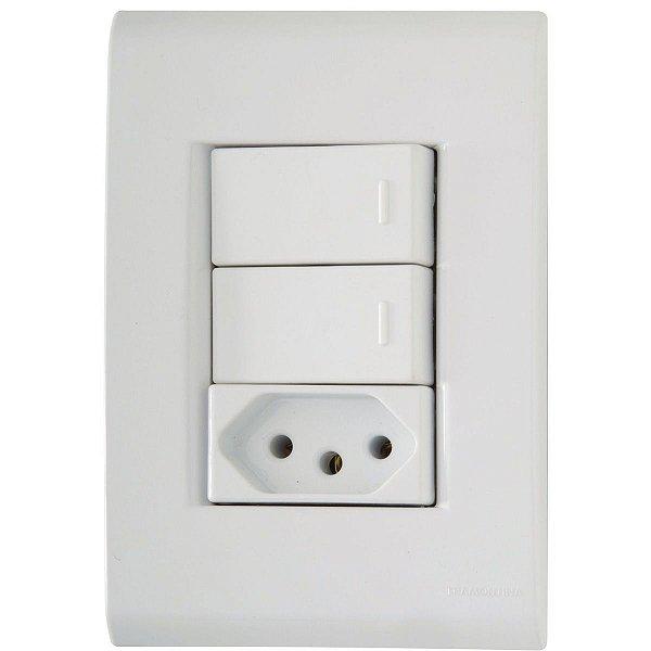 2 Interruptor Simples + 1 Tomada 2P+T 10A/250V LIZ - TRAMONTINA