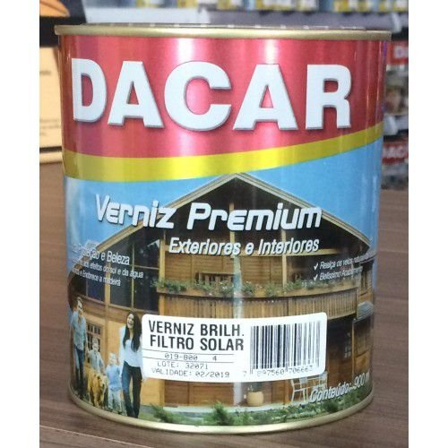 Verniz Filtro Solar Brilhante Natural 900 ml - Dacar