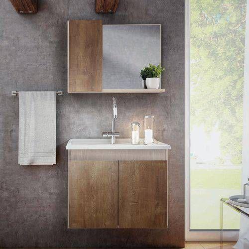 Gabinete Para Banheiro Suspenso Com Espelheira E Tampo Madri 57,0Cm Rovere/Wengue -GAAM