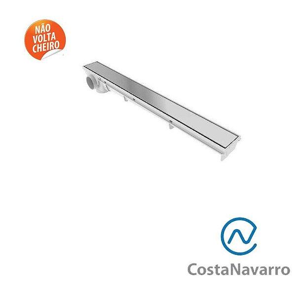 Ralo Sifonado Linear com Base + Grelha 7 x 90 CM com Saída Lateral Cromado - COSTA NAVARRO