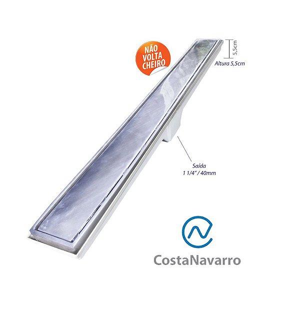 Ralo Sifonado Linear com Base + Grelha 7 x 90 CM com Saída Para Baixo Cromado - COSTA NAVARRO