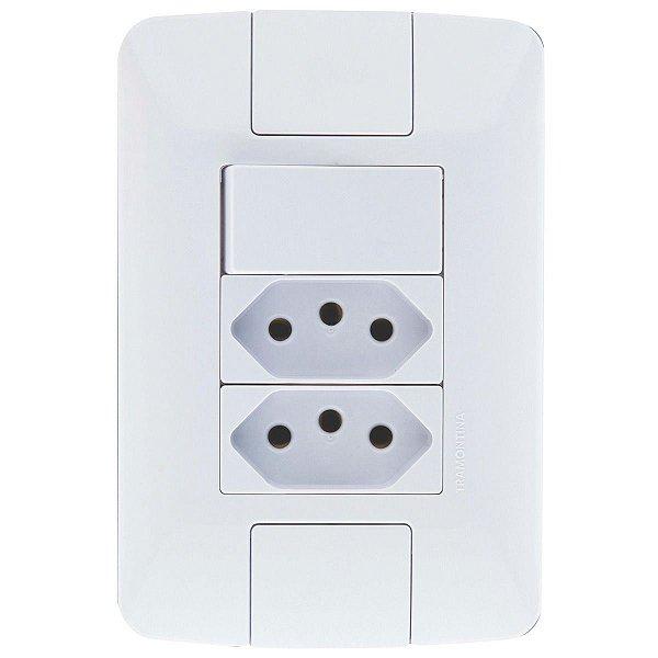 1 Interruptor Simples 6A + 2 Tomadas 2P+T 20A ARIA - TRAMONTINA