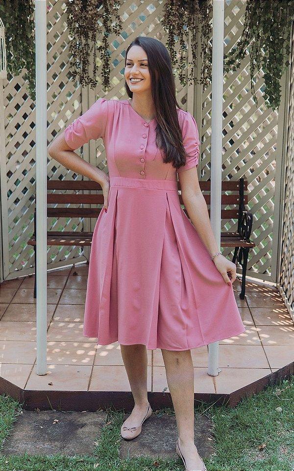 Vestido Midi Rosê com botões