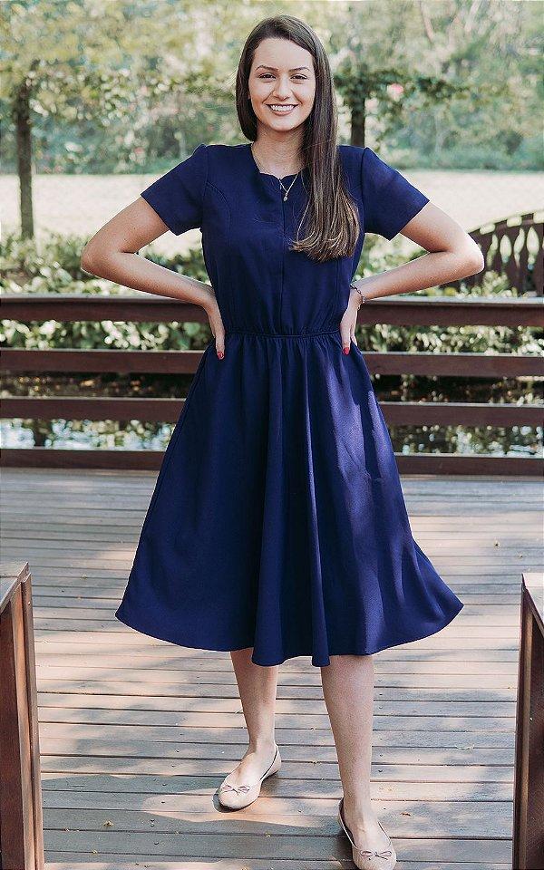 Vestido Azul com zíper de amamentação