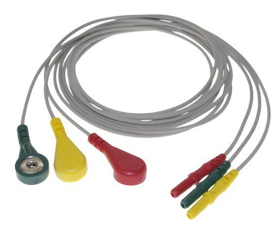 Eletrodo de ECG IEC com 3 fios para Mecta (vermelho, verde e amarelo) - 9011-0001-02