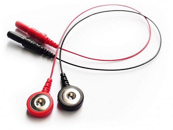 Par Eletrodo de EMG Highlander tipo Botão de Pressão 441 - 222 - Vermelho e Preto - 20 cm