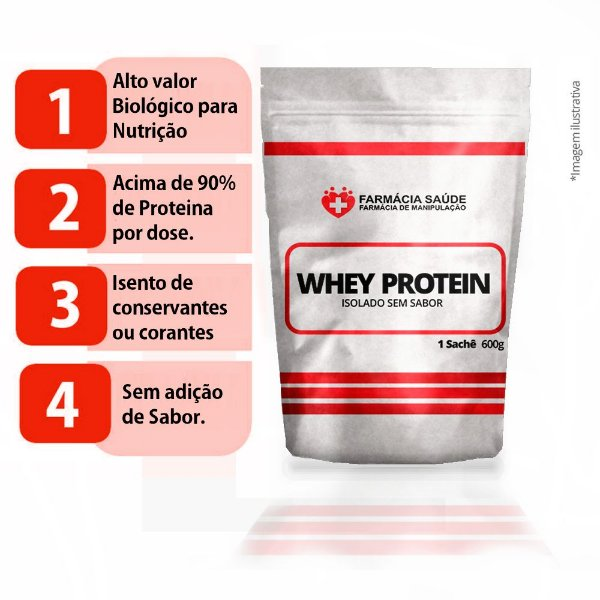Whey Protein Isolado 600g - Puro sem sabor - Para Atletas
