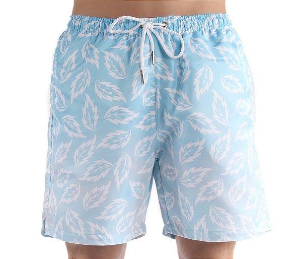 Bermuda Masculina de Praia Folhas Degradê On Blue