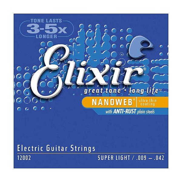 Encordoamento Elixir Nanoweb 12002 Guitarra 0.09