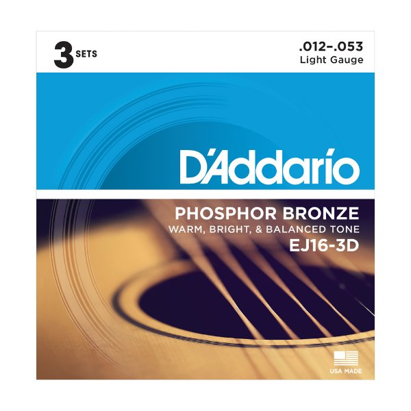 Kit 3 Encordoamento Violão D'Addario 0,12 EJ 16