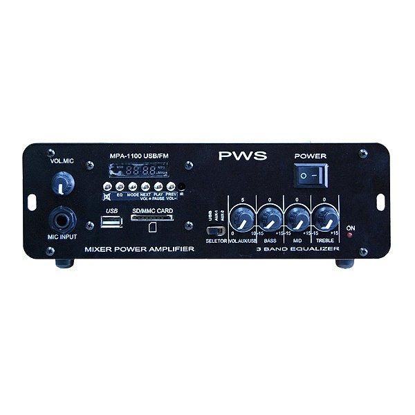 Amplificador Áudio PWS MPA 1100 USB