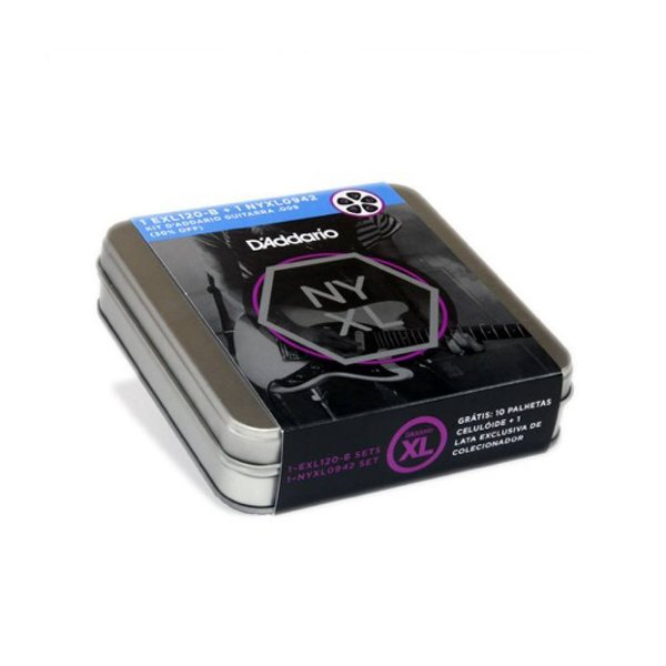Kit Encordoamento D'Addario EXL120 B   NYXL 0942   Palhetas Celluloid