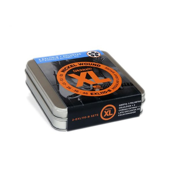 Kit Encordoamento D'Addario 2x EXL110 B   Palhetas Celluloid