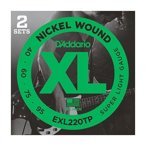Kit 2 Encordoamento Contrabaixo 4C D'Addario 0,40 EXL 220 TP