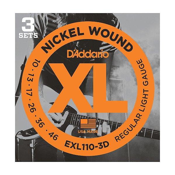 Kit 3 Encordoamento Guitarra D'Addario 0,10 Exl 110 3D
